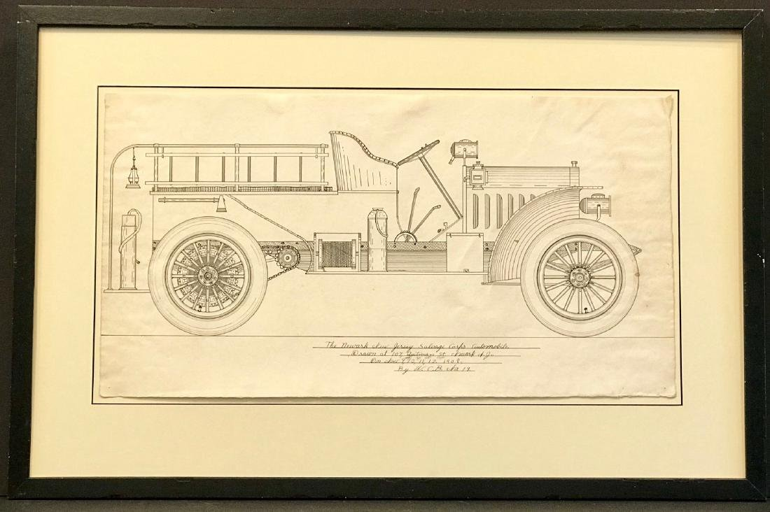 Original Automobile Drawing Dated 1908 Signed Newark NJ