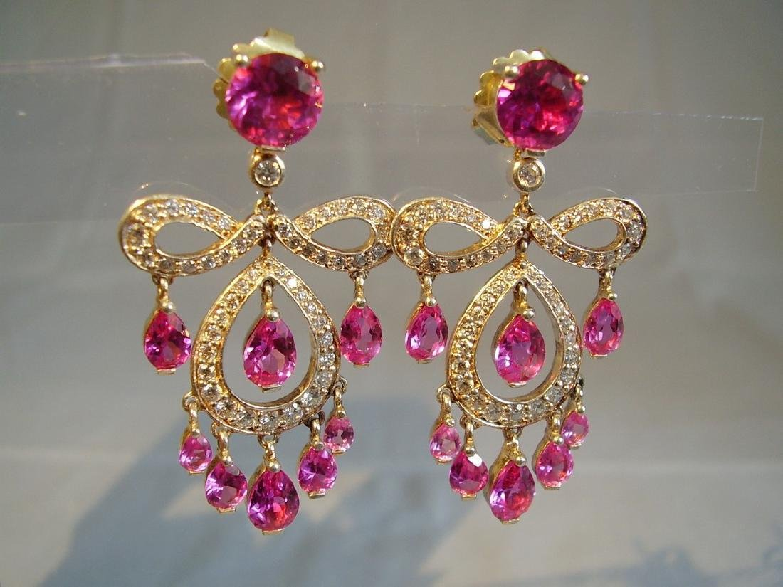 Sterling Verneuil-Sapphire Chandelier Earrings, 14ct