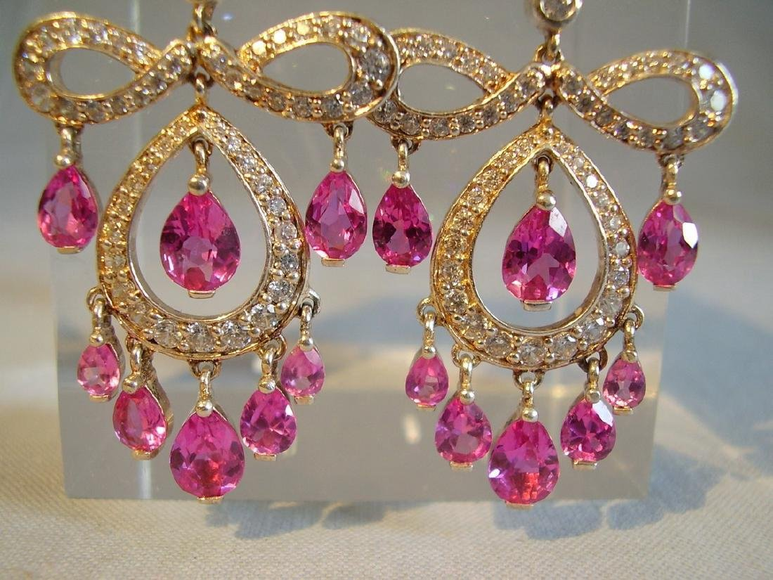 Sterling Verneuil-Sapphire Chandelier Earrings, 14ct - 2