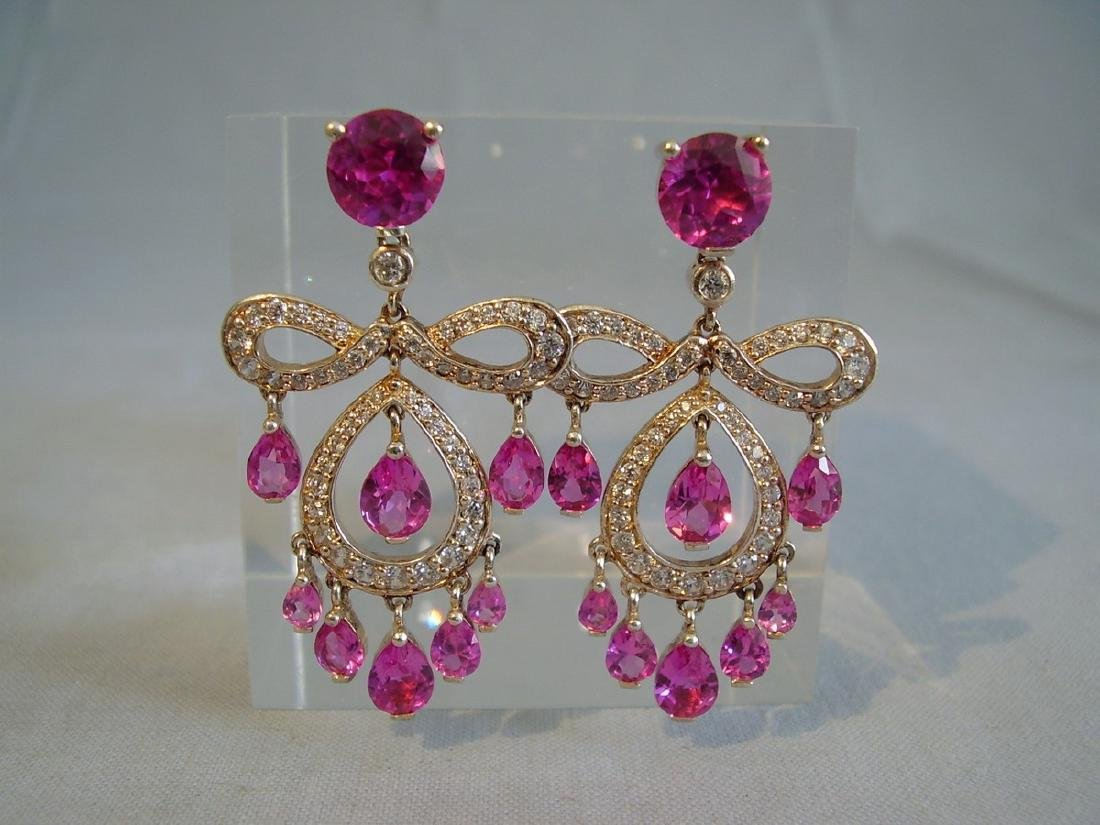 Sterling Verneuil-Sapphire Chandelier Earrings, 14ct - 4