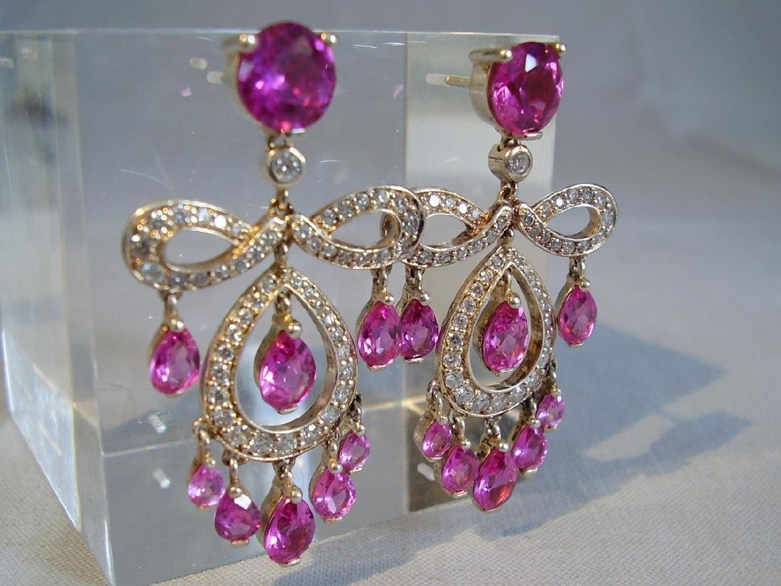 Sterling Verneuil-Sapphire Chandelier Earrings, 14ct - 6