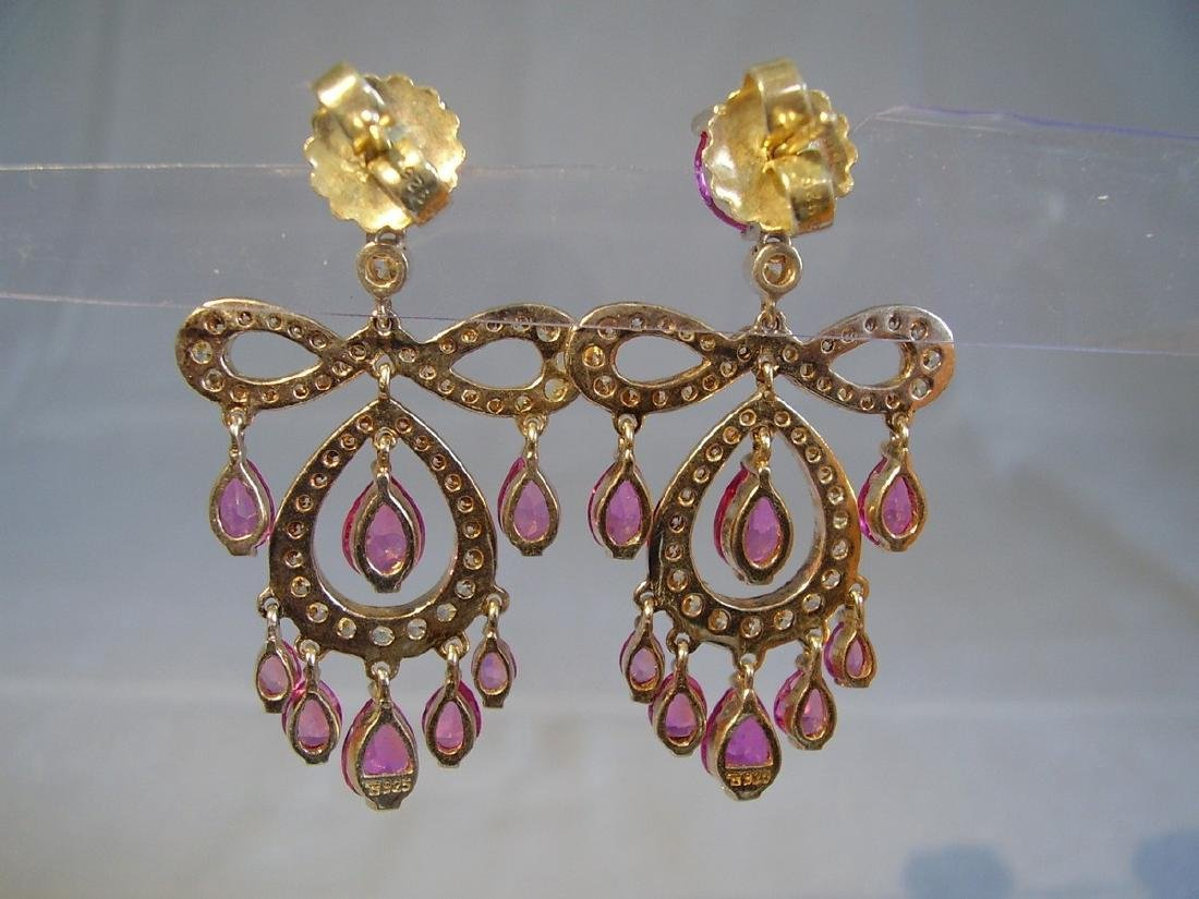 Sterling Verneuil-Sapphire Chandelier Earrings, 14ct - 8