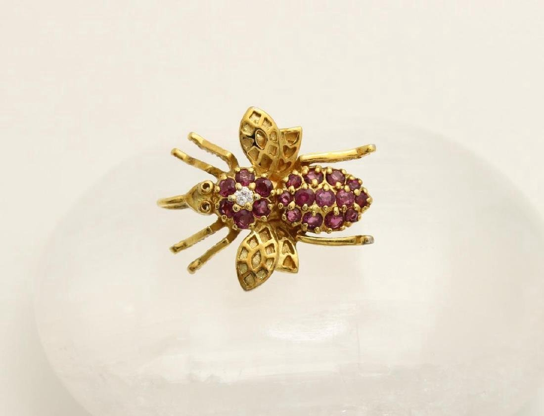 Gold over Sterling Silver Ruby Figural Bee Pendant Pin