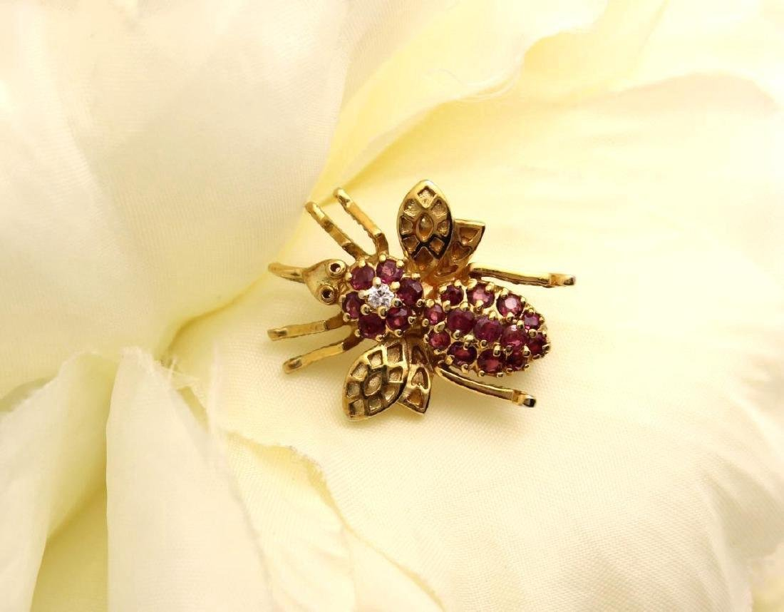 Gold over Sterling Silver Ruby Figural Bee Pendant Pin - 2