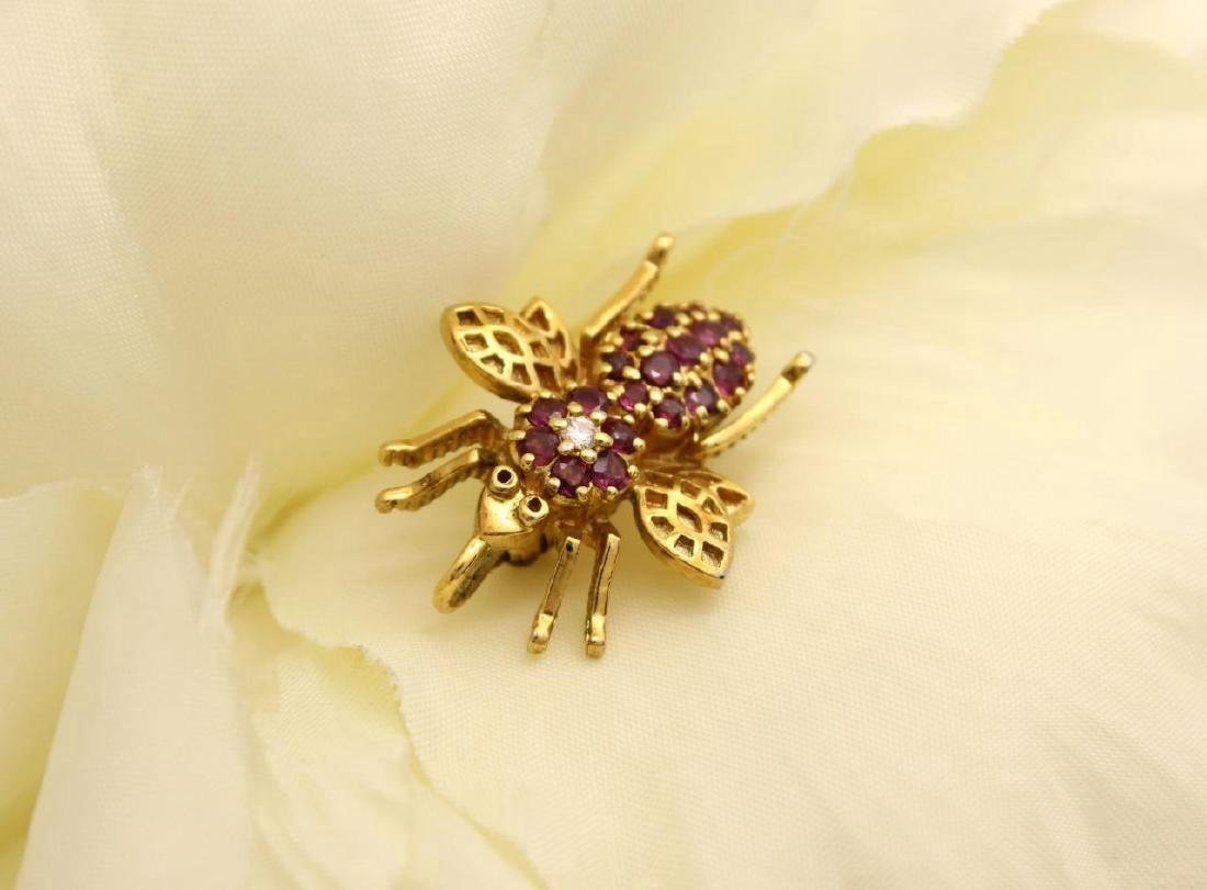 Gold over Sterling Silver Ruby Figural Bee Pendant Pin - 3