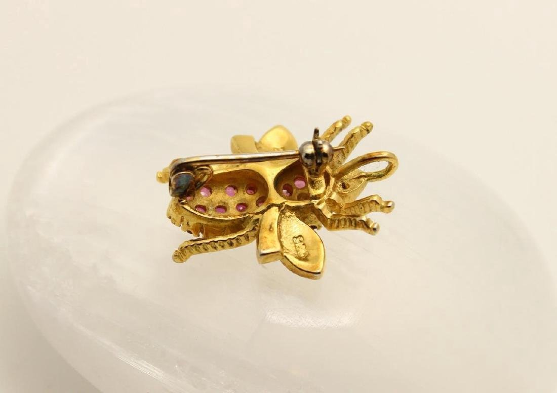 Gold over Sterling Silver Ruby Figural Bee Pendant Pin - 4
