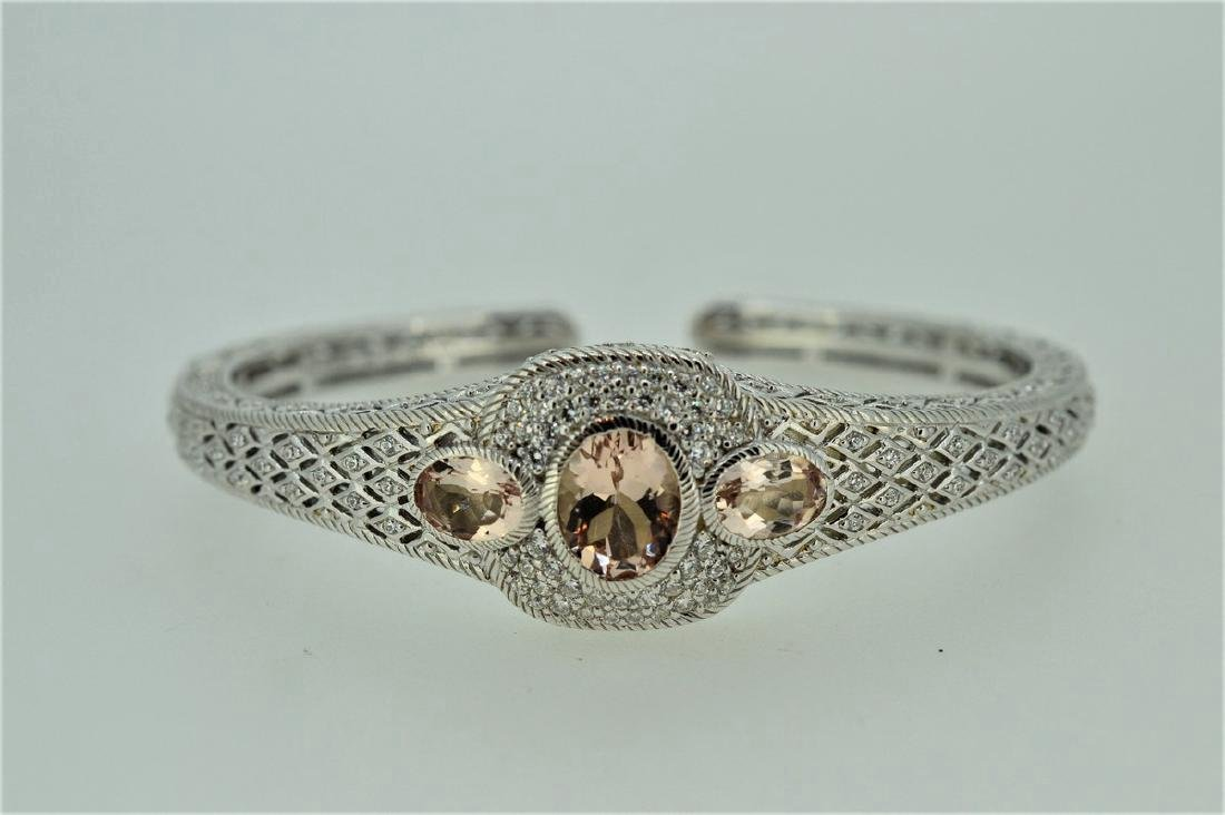 Judith Ripka Sterling Silver Pink Quartz Cuff Bracelet
