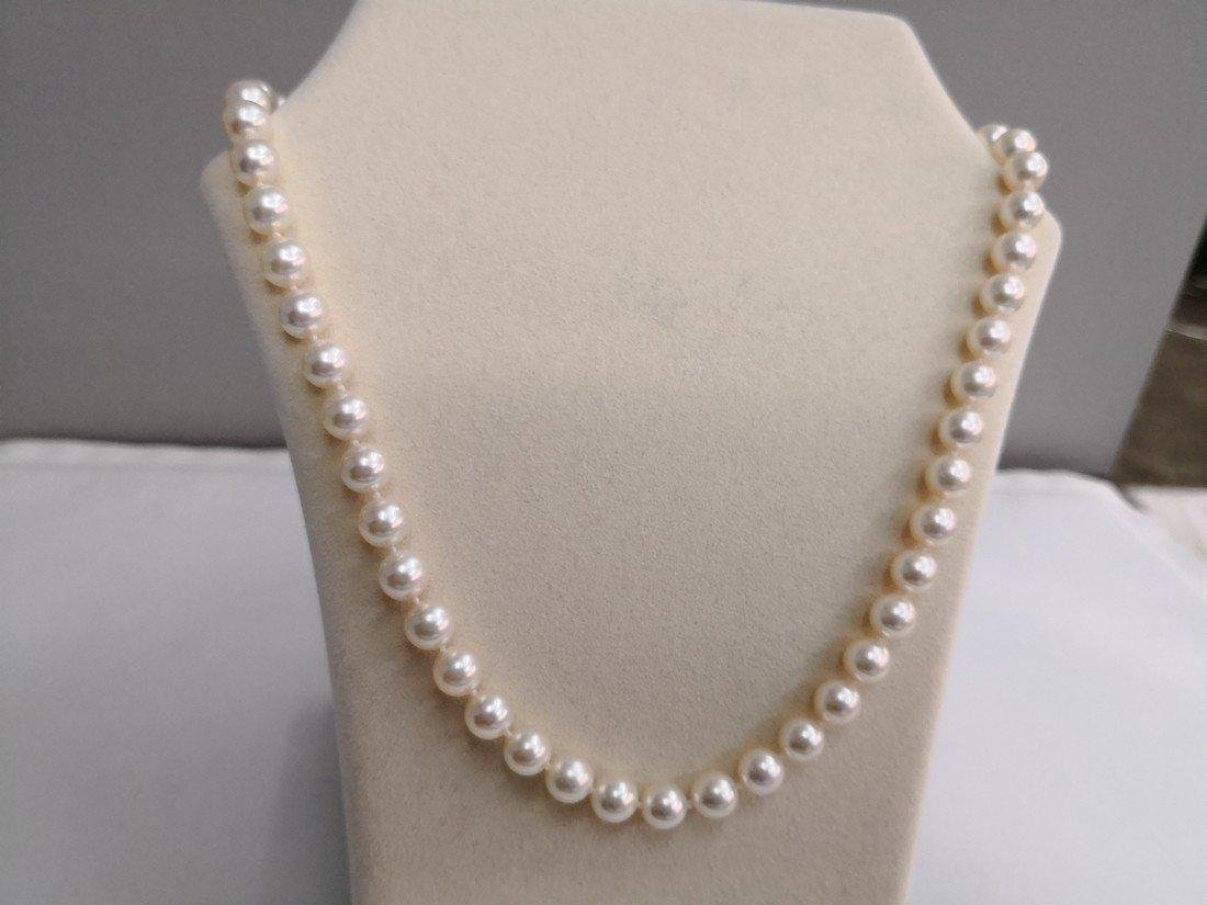 Japanese Akoya pearl necklace 9-9.5 mm silver clasp