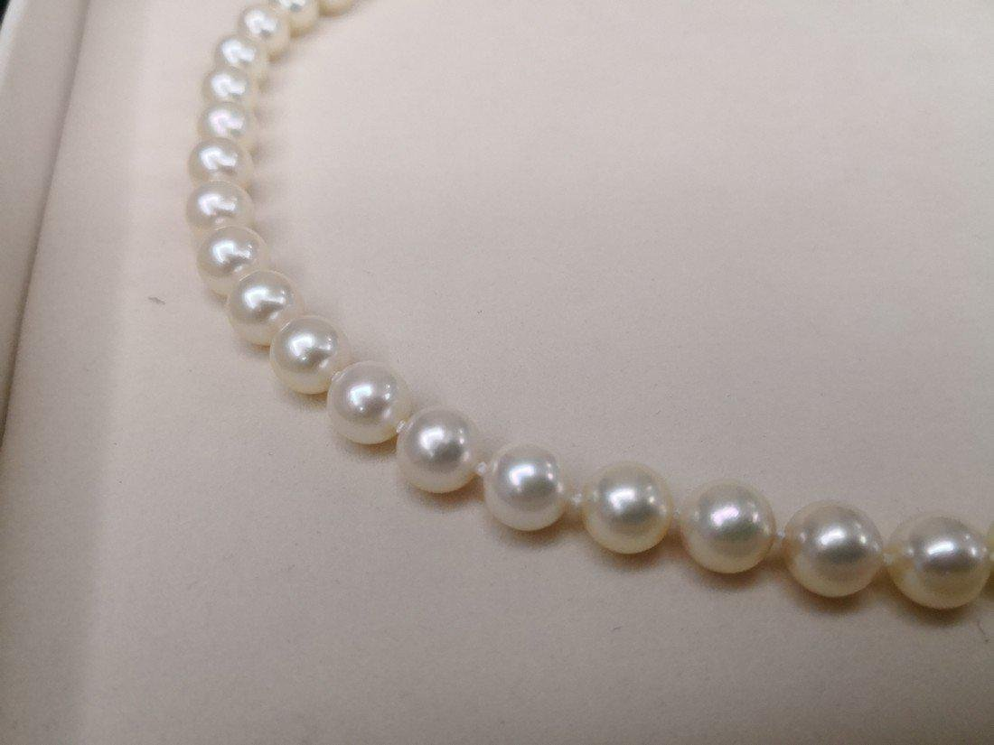 Japanese Akoya pearl necklace 9-9.5 mm silver clasp - 2