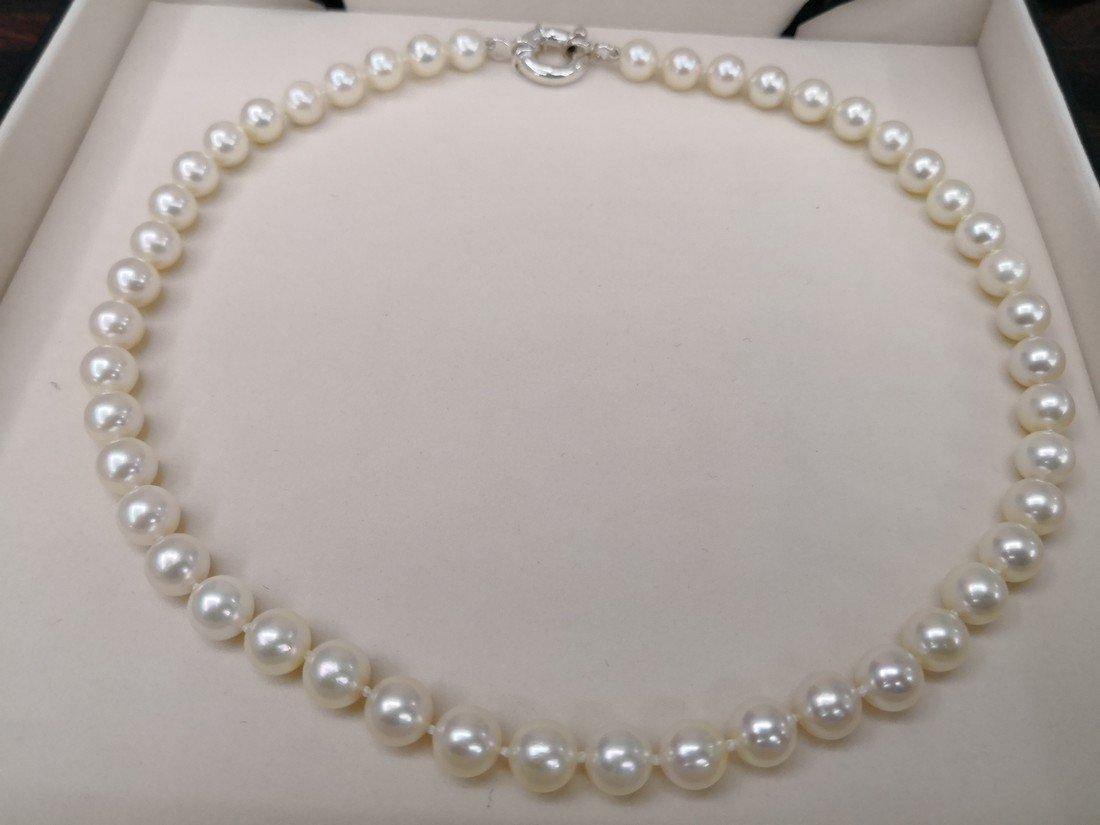 Japanese Akoya pearl necklace 9-9.5 mm silver clasp - 3