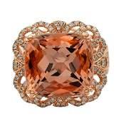 14K Rose Gold 14.26ct Morganite 0.92ctw Diamond Ring