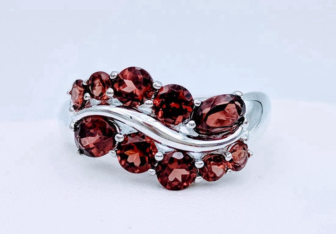 Sterling Silver Almandine Garnet Ring, 1.74ctw
