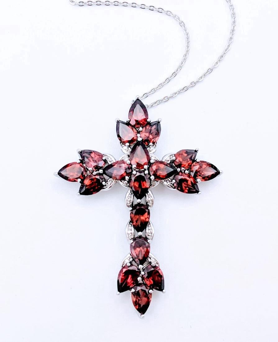 Sterling Silver Almandine Garnet Necklace, 9ct - 2