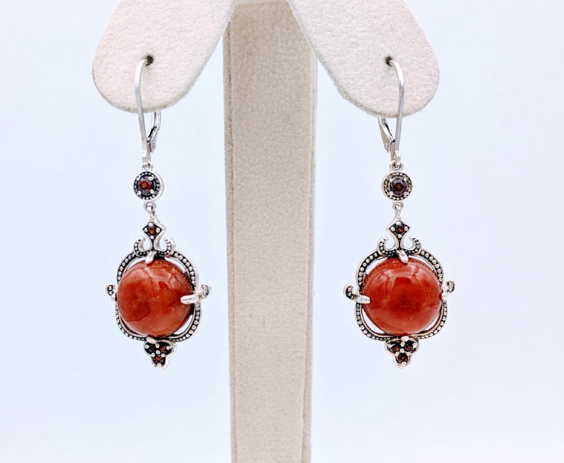 Sterling Silver Victorian Style Jasper  Garnet Earrings