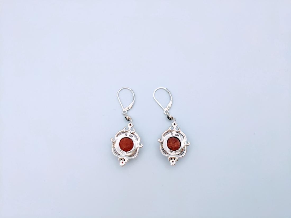 Sterling Silver Victorian Style Jasper  Garnet Earrings - 2