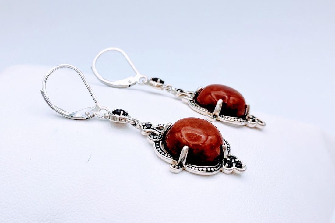 Sterling Silver Victorian Style Jasper  Garnet Earrings - 3