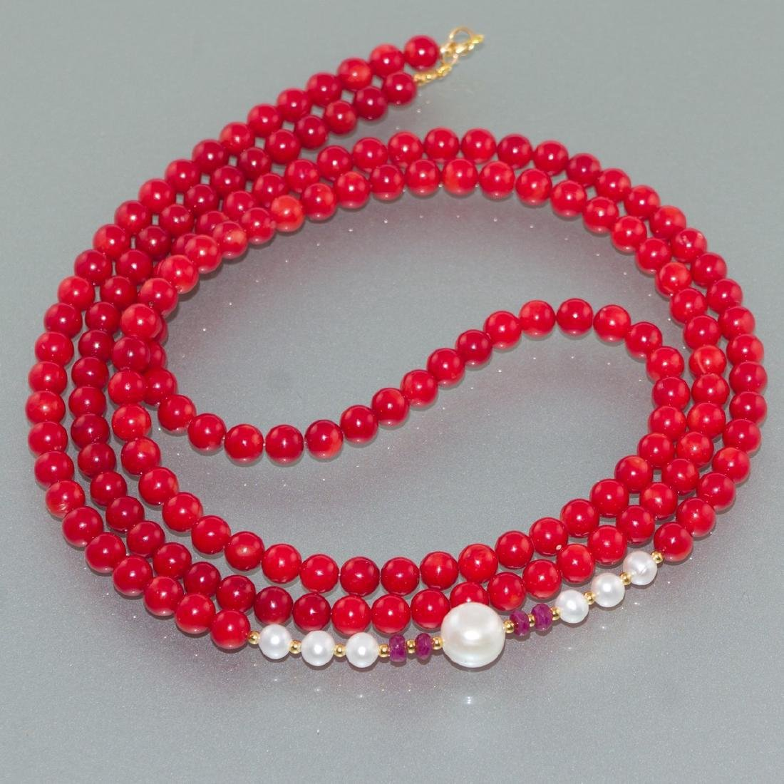 Vintage Style 14K Gold Coral Ruby Pearl necklace - 2