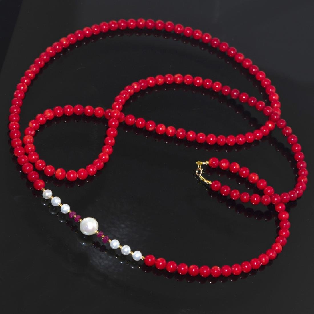 Vintage Style 14K Gold Coral Ruby Pearl necklace - 3