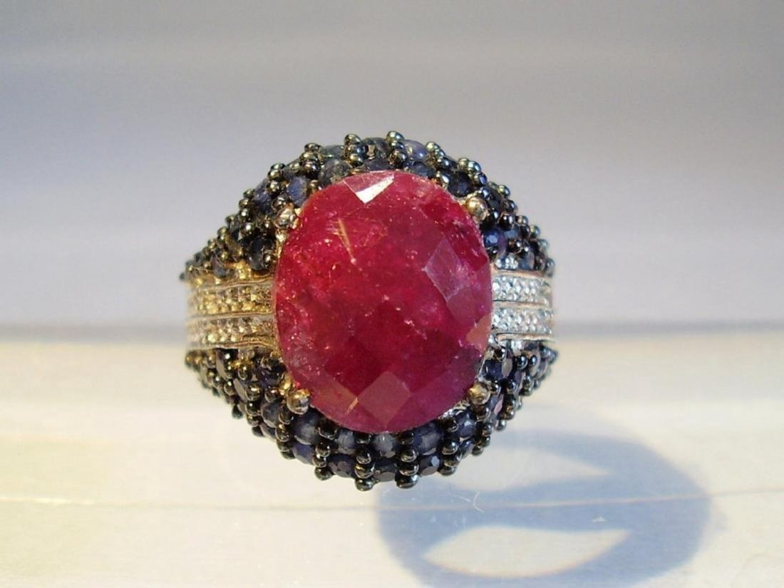 Harry Ivens Sterling Silver Ruby Sapphire Diamond Ring