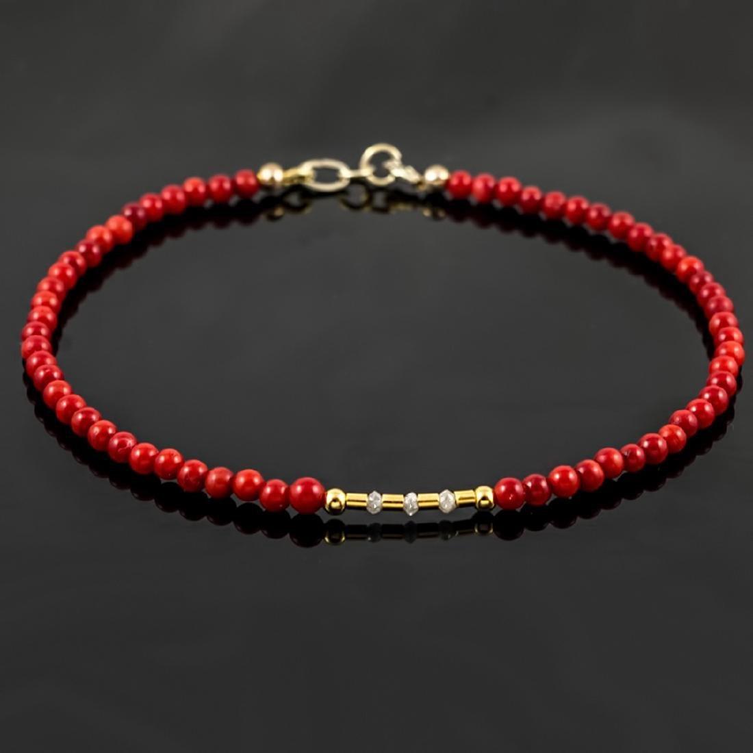 Retro Style Red Coral bracelet with Diamonds 0.2ctw
