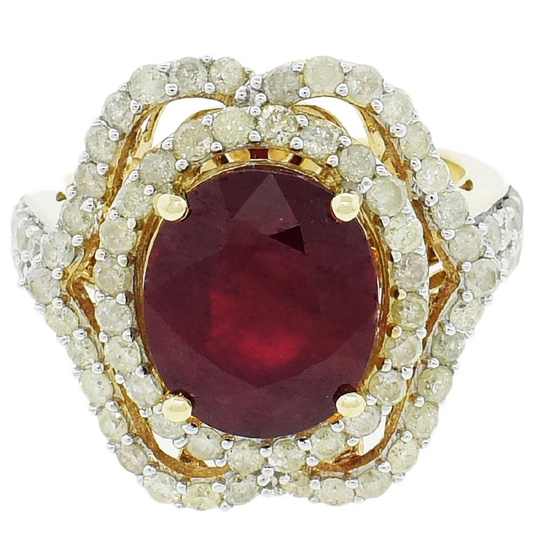 14K Yellow Gold 6.50ct Ruby 1.52ctw Diamond Ring
