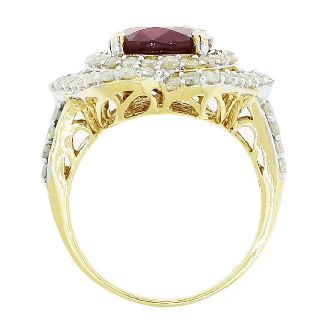 14K Yellow Gold 6.50ct Ruby 1.52ctw Diamond Ring - 3