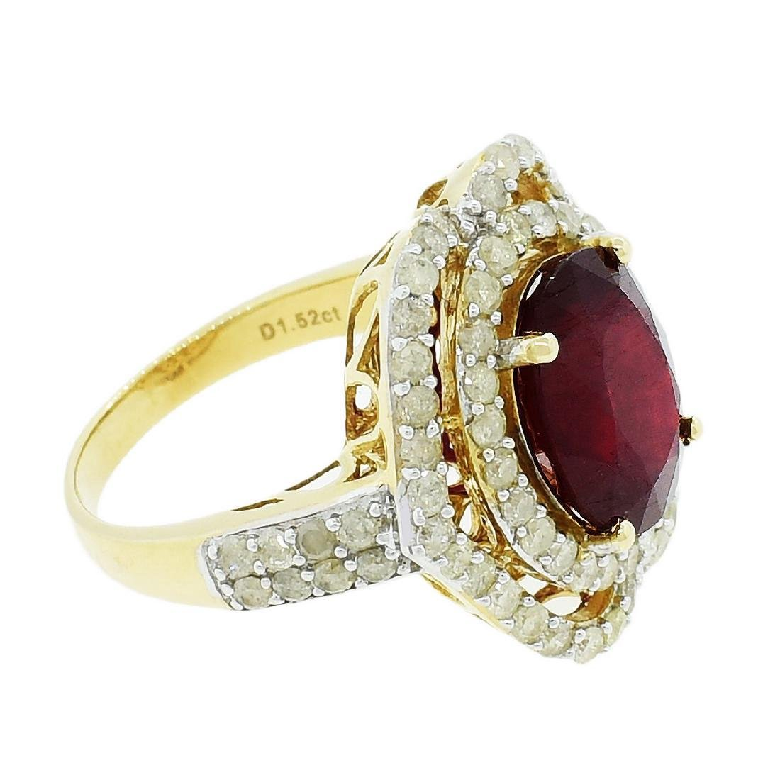 14K Yellow Gold 6.50ct Ruby 1.52ctw Diamond Ring - 5