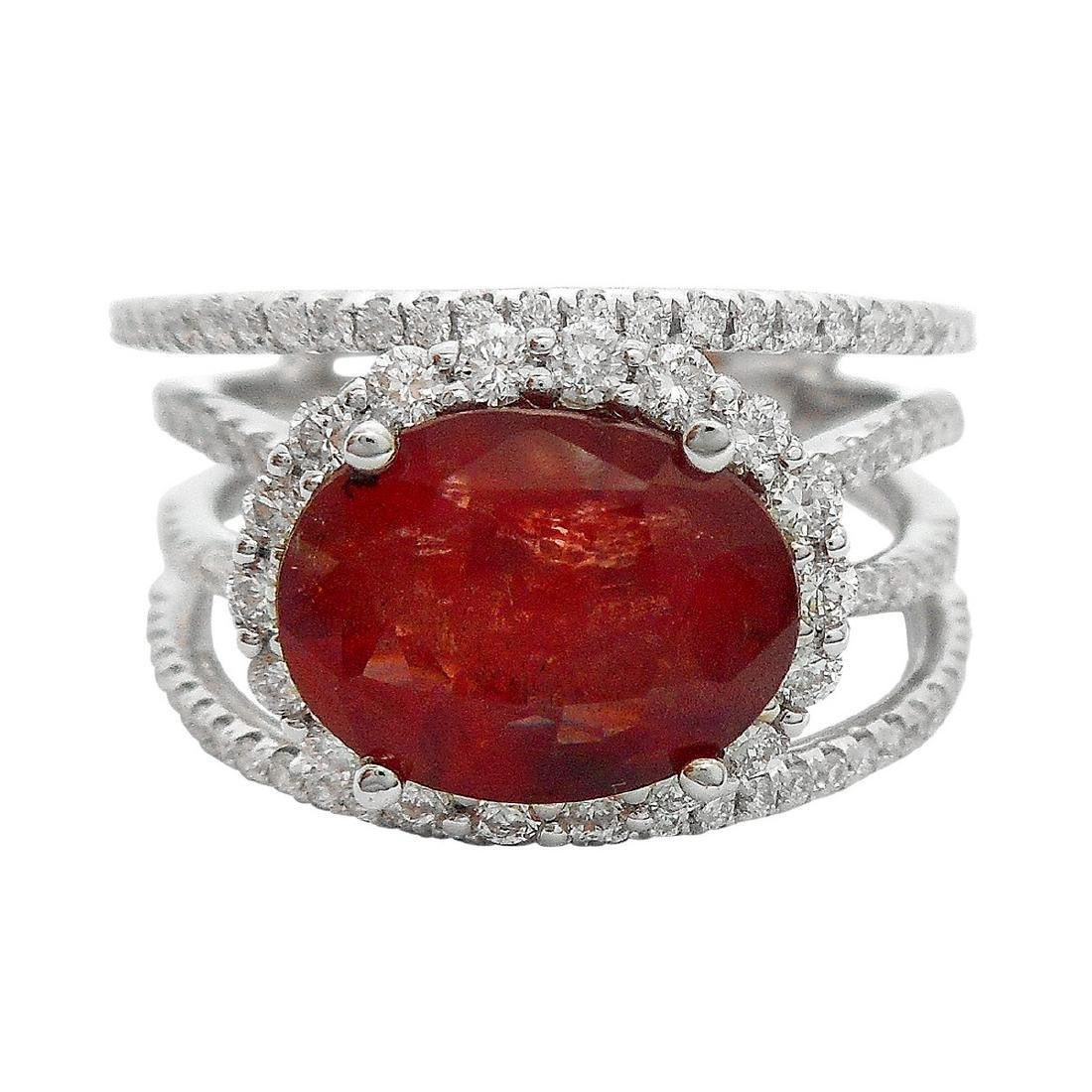 18K White Gold 3.81ct Unheated Ruby 0.77ct Diamond Ring