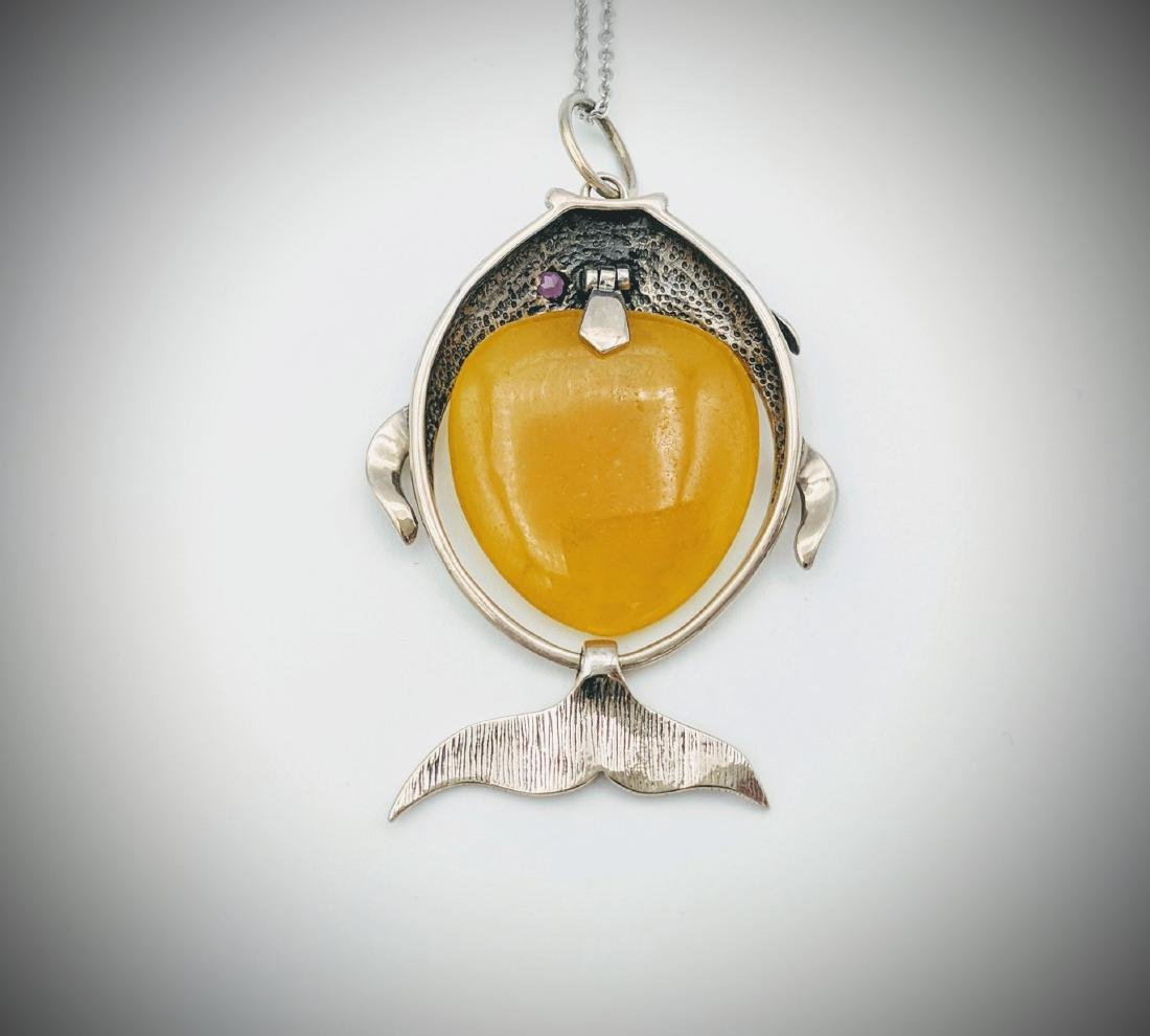 Sterling Silver Jade Amethyst Figural Fish Pendant - 2