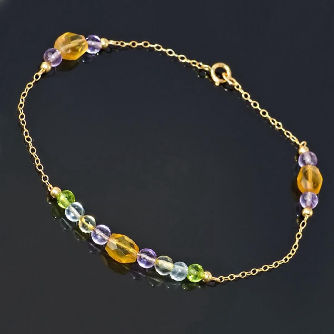 14K Gold Peridot Topaz Amethyst Citrine Chain Bracelet