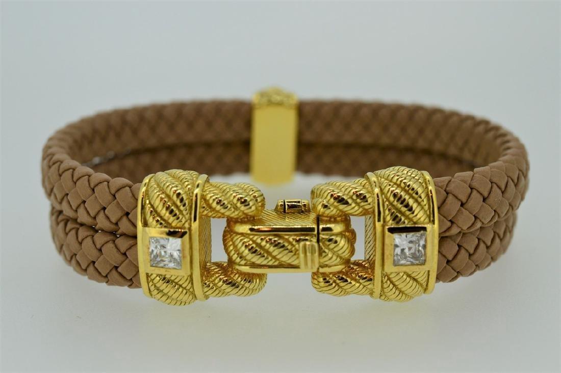 Judith Ripka Braided Leather Gold Clad Buckle Bracelet