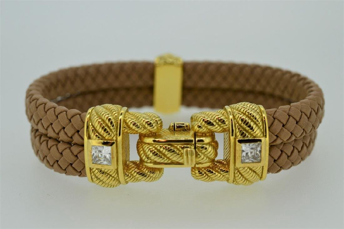 Judith Ripka Braided Leather Gold Clad Buckle Bracelet