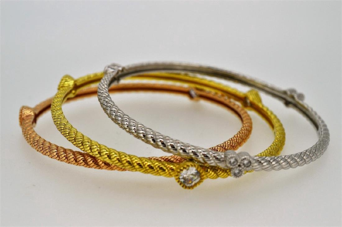 Judith Ripka Trio Gold Plated Sterling Bangle Bracelets