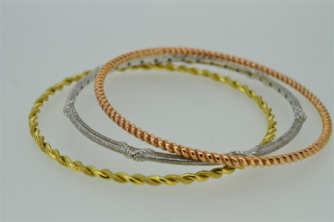 Judith Ripka Fine Gauge Trio of Tri-Colored Bangles