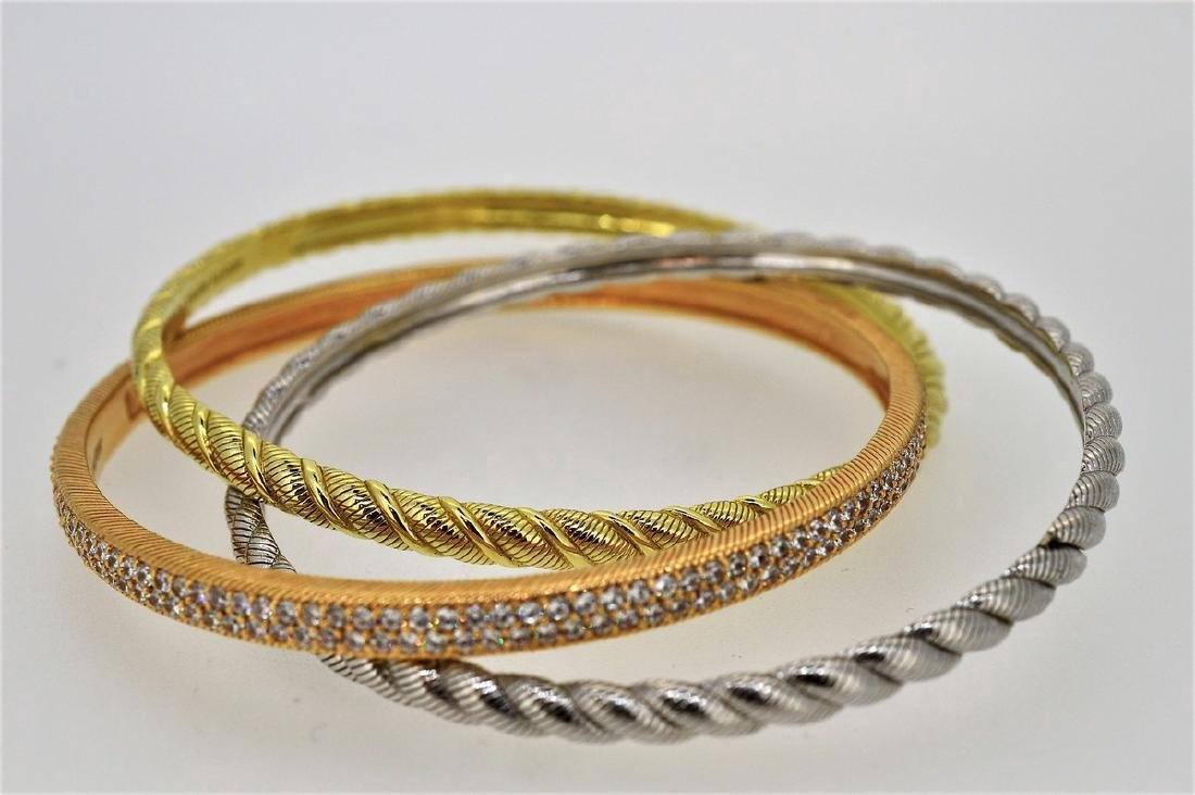Judith Ripka Tri-Colored Bangle Bracelet Set