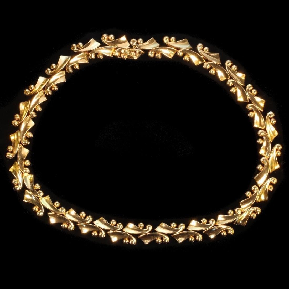 Vintage Retro 18K Yellow Gold Necklace, 1950