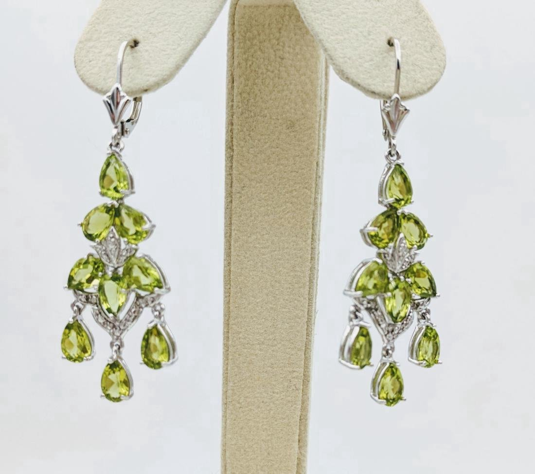 Sterling Silver Peridot Diamond Earrings, 4.56ctw