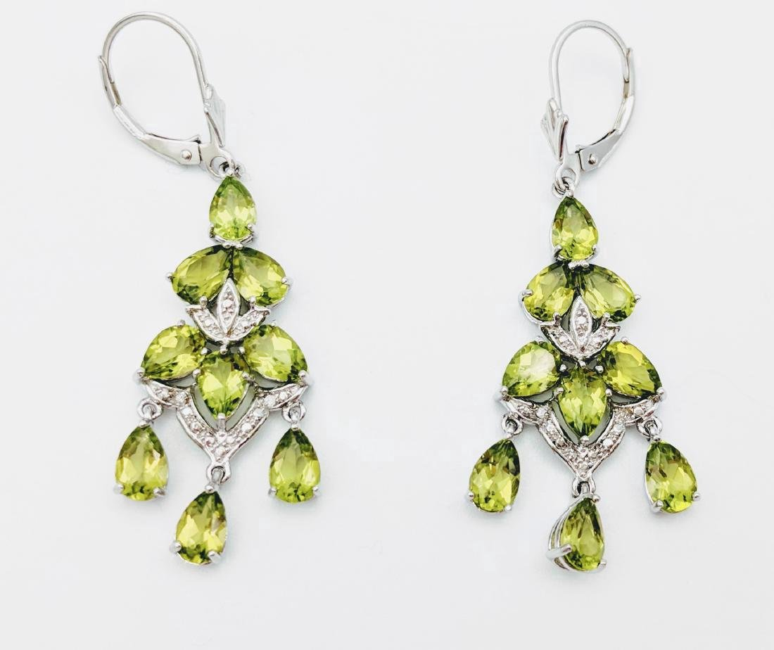Sterling Silver Peridot Diamond Earrings, 4.56ctw - 2