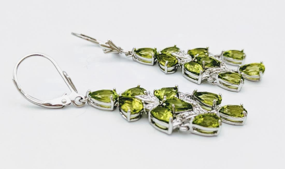 Sterling Silver Peridot Diamond Earrings, 4.56ctw - 3