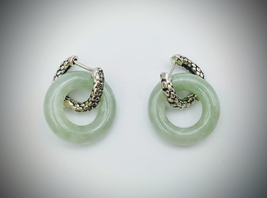 Sterling Silver Jade Dragon Scales Hoop Earrings