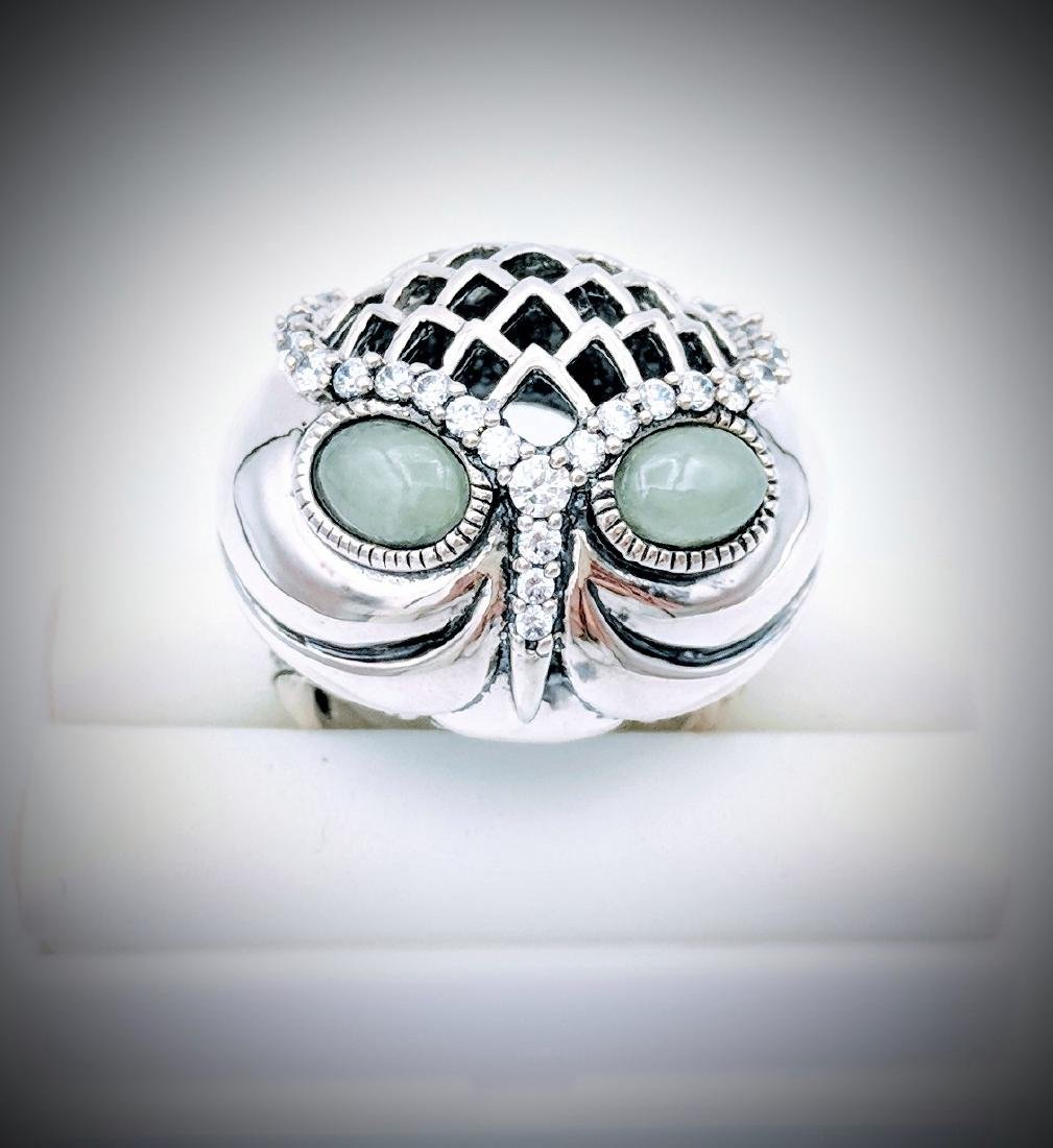 Sterling Silver Owl Designed Ring with Jade and CZ