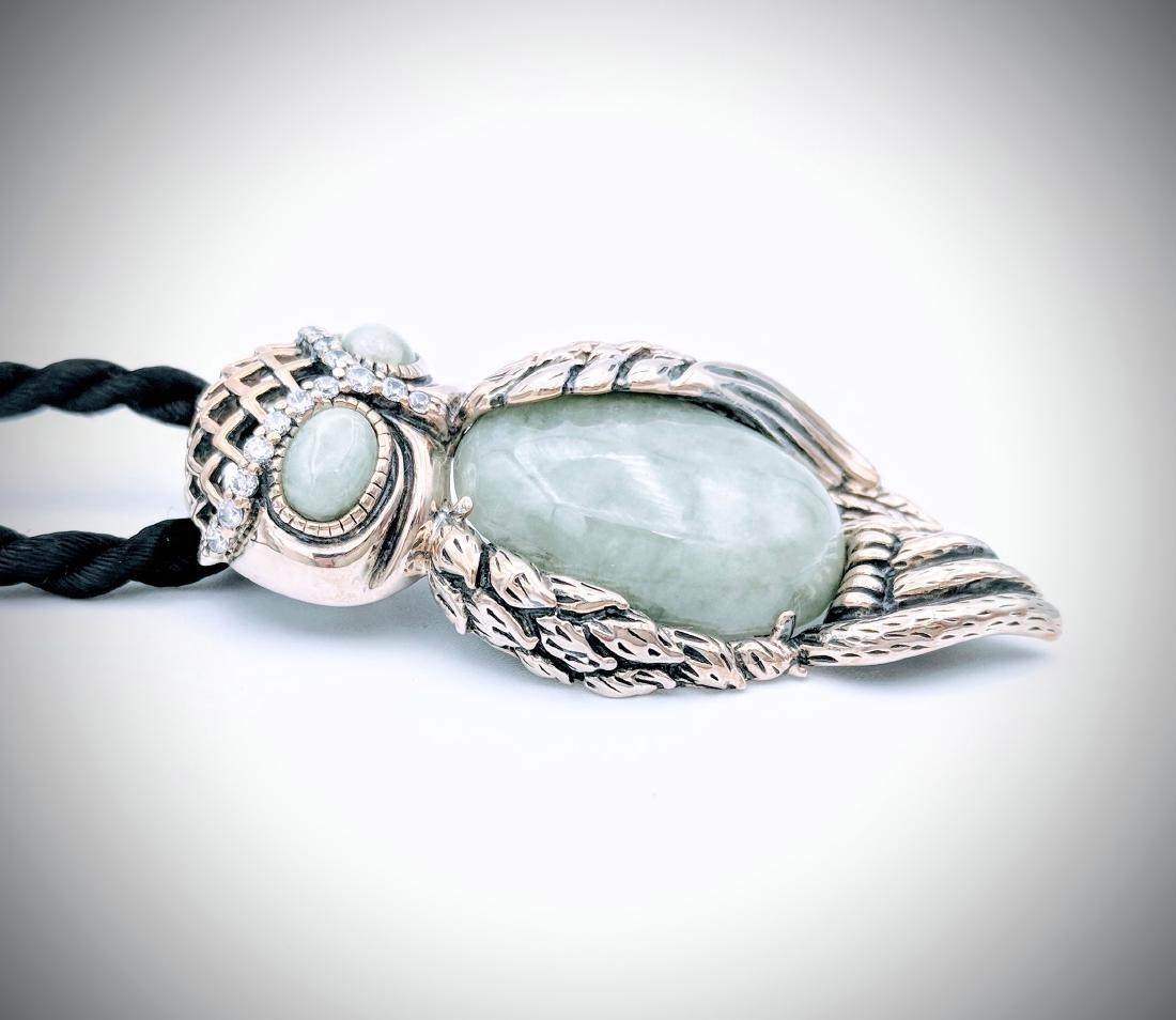Sterling Silver Owl Designed Pendant - 3