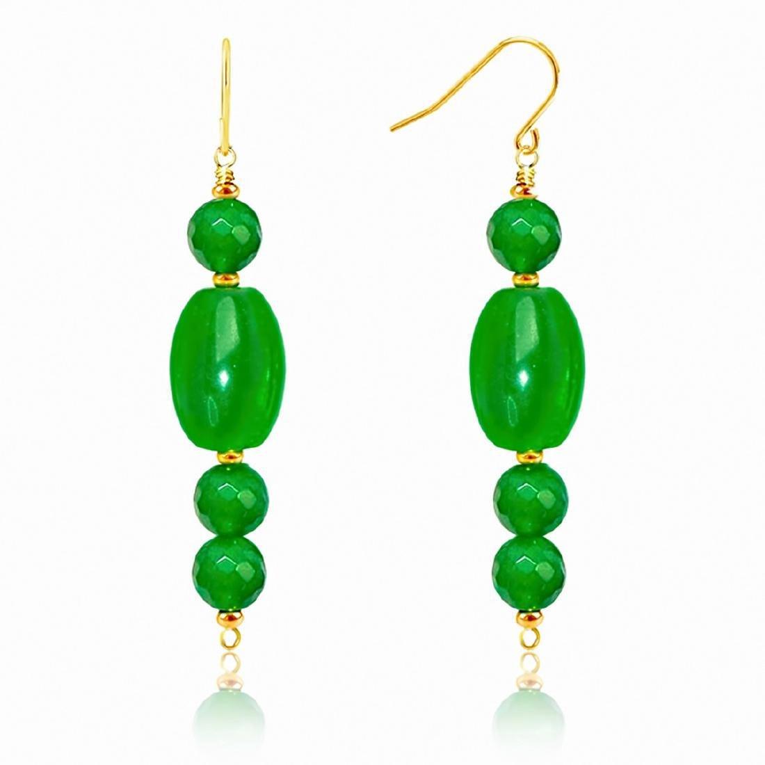 14kt Gold Drop Imperial Jade Earrings