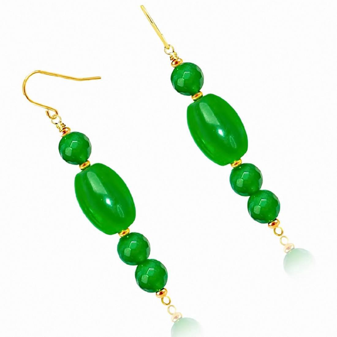 14kt Gold Drop Imperial Jade Earrings - 2