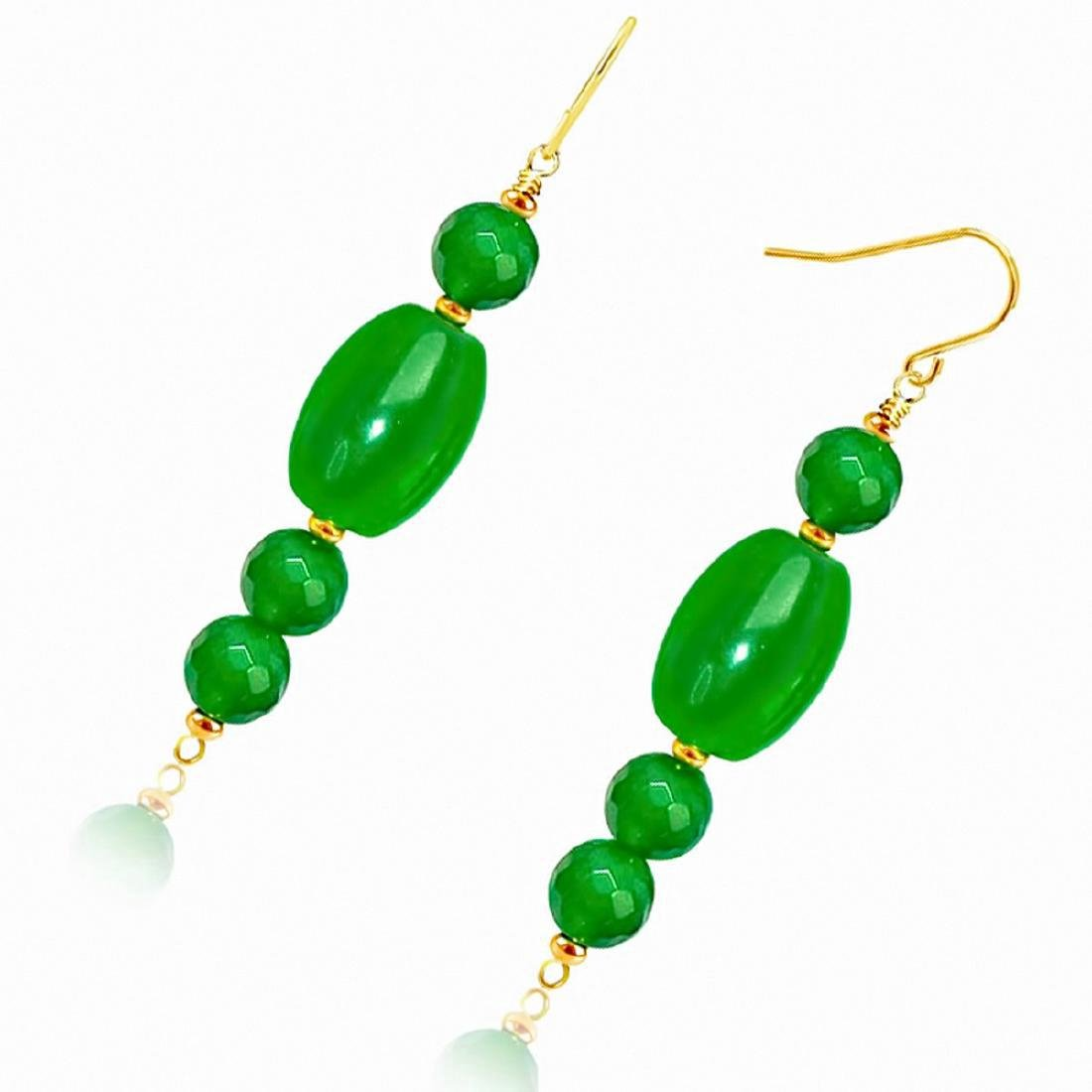 14kt Gold Drop Imperial Jade Earrings - 3