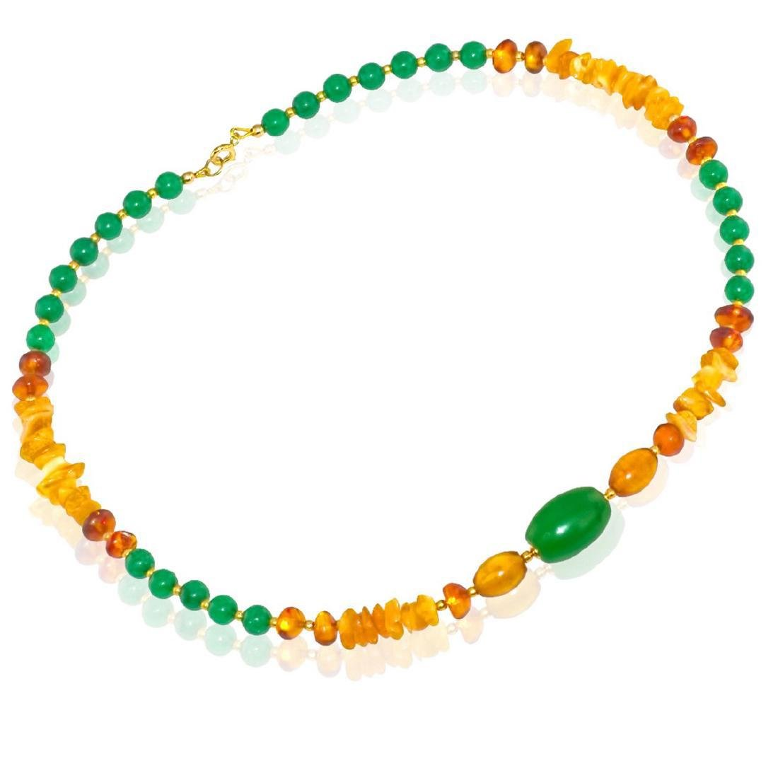 Vintage Style Imperal Jade Baltic Amber Necklace