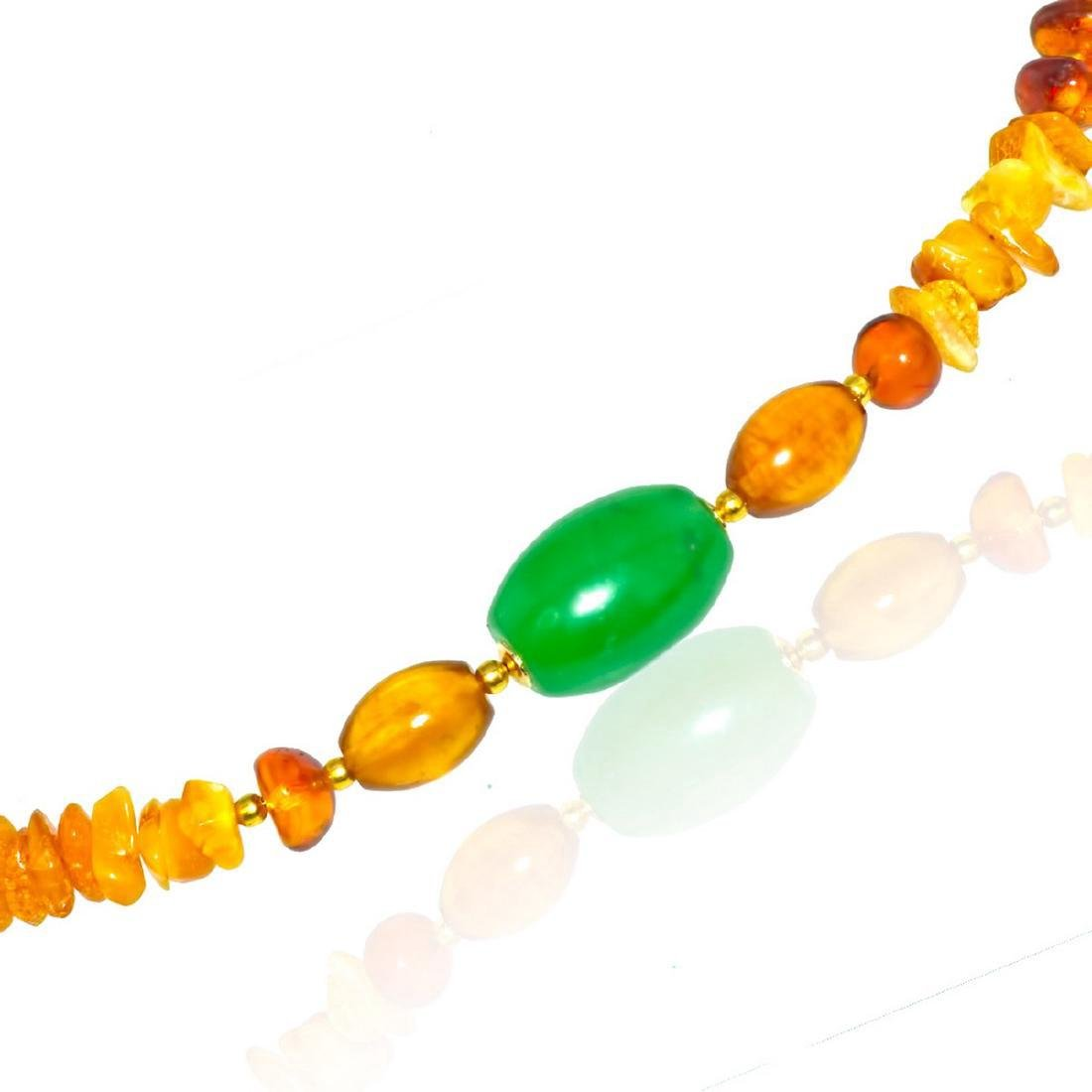 Vintage Style Imperal Jade Baltic Amber Necklace - 2