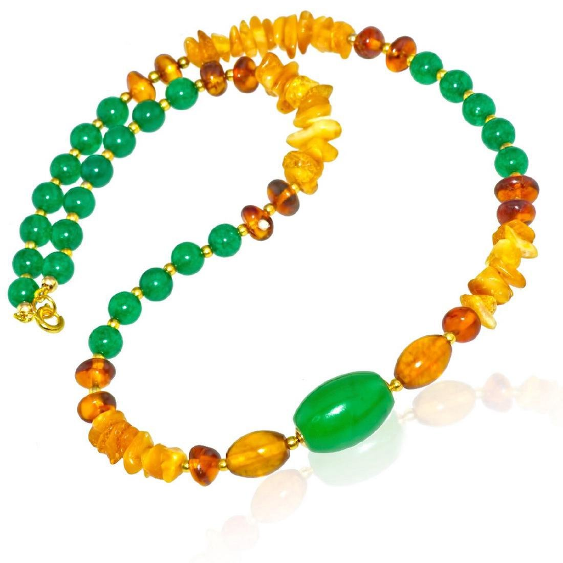 Vintage Style Imperal Jade Baltic Amber Necklace - 6