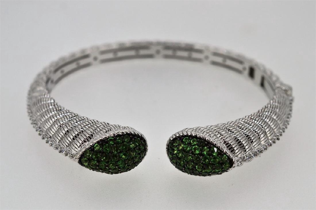 Judith Ripka Sterling Silver Green Zirconia Bracelet