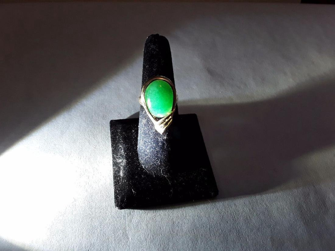 """Vintage 14k Gold Authentic Natural """"a"""" Jade Ring"""